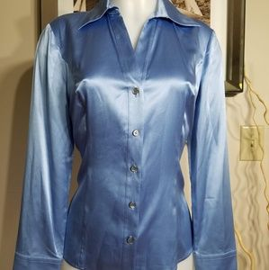 Talbots Sky Blue Silk Stretch Blouse Size 8